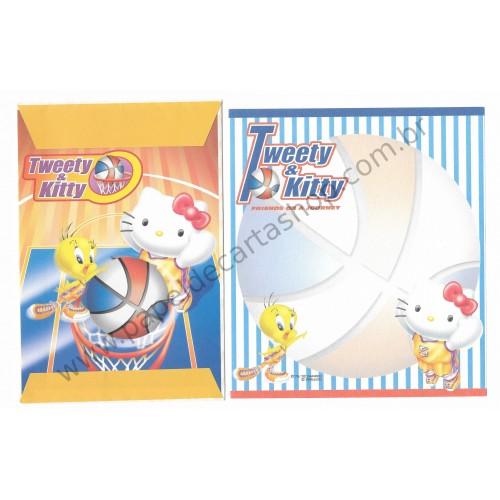 Ano 2002. Conjunto de Papel de Carta Hello Kitty & Tweety PBasketball Sanrio