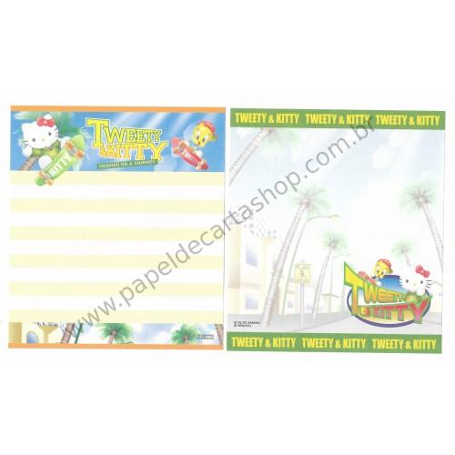 Ano 2002. Conjunto de Papel de Carta Hello Kitty & Tweety PSkating Sanrio