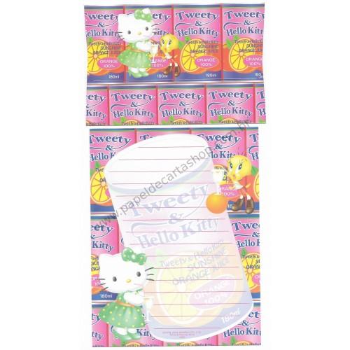 Ano 2002. Conjunto de Papel de Carta Hello Kitty & Tweety Orange Juice Sanrio