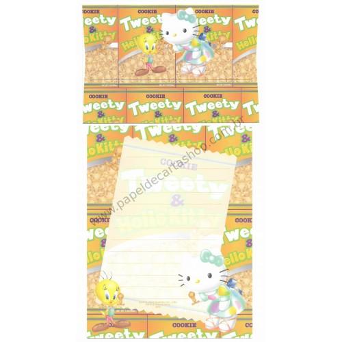 Ano 2002. Conjunto de Papel de Carta Hello Kitty & Tweety Cookie Sanrio