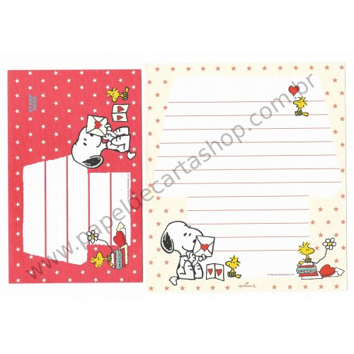Conjunto de Papel de Carta Snoopy Reading Letters VM Peanuts Hallmark