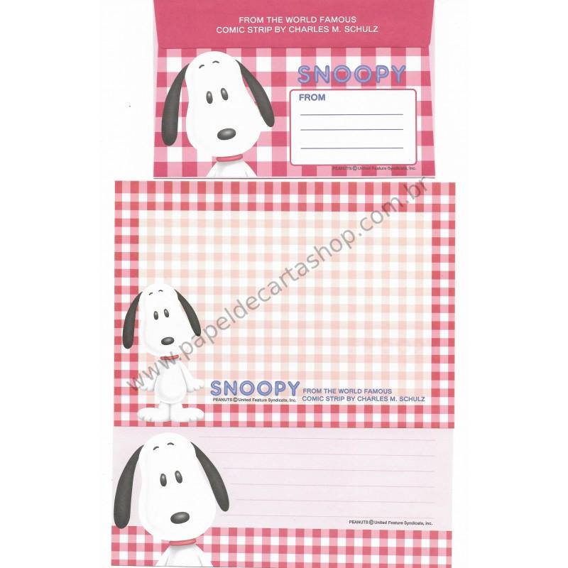 Conjunto de Papel de Carta Snoopy Xadrez VM Antigo (Vintage) - Peanuts