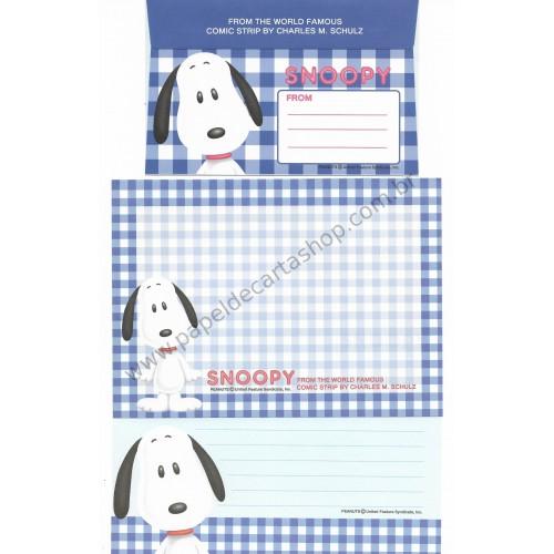 Conjunto de Papel de Carta Snoopy Xadrez AZ Antigo (Vintage) - Peanuts