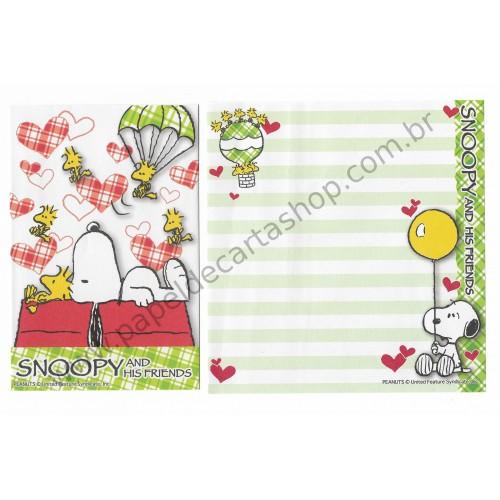 Conjunto de Papel de Carta Snoopy Xadrez VD Peanuts