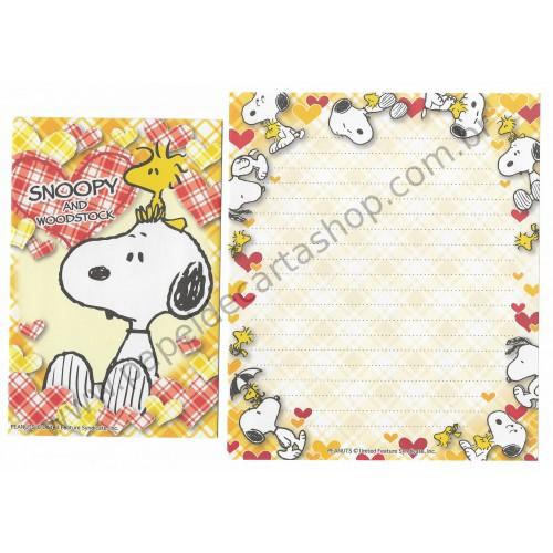 Conjunto de Papel de Carta Snoopy Xadrez AM Peanuts