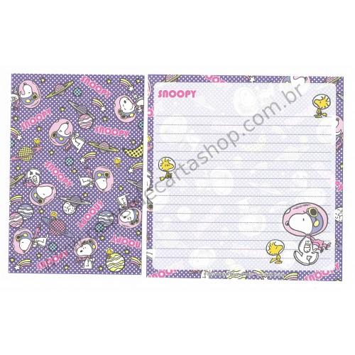 Kit 4 Conjuntos de Papéis de Carta Snoopy Co Jp Astronaut Peanuts