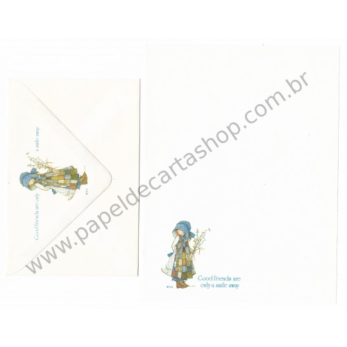 Conjunto de Papel de Carta ANTIGO Holly Hobbie - M17