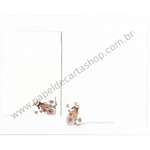 Conjunto de Papel de Carta ANTIGO Holly Hobbie - M2