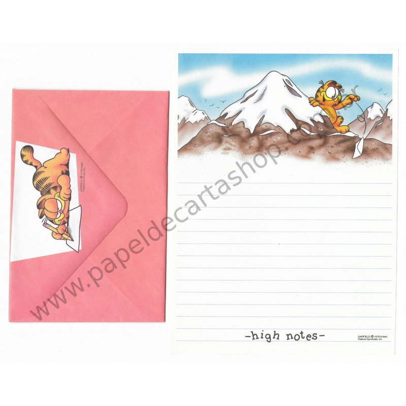 Conjunto de Papel de Carta Garfield High Notes - Paws