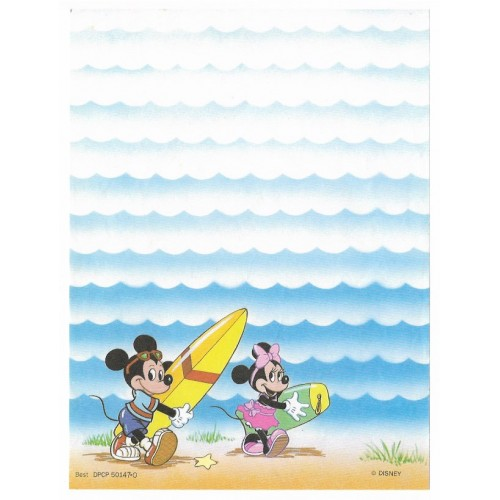 Papel de Carta Antigo Disney Mickey & Minnie Surf - Best Cards