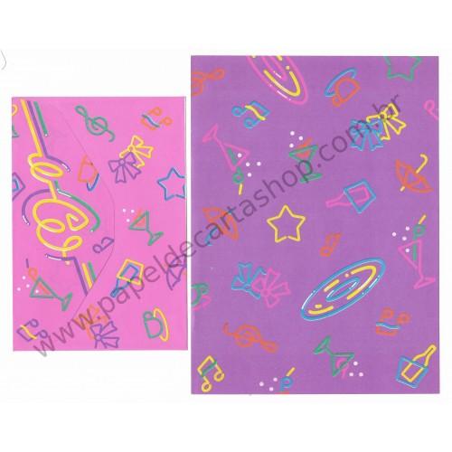 Ano 1988. Conjunto de Papel de Carta Heart Fashion Folio RXS Antigo (Vintage) Sanrio