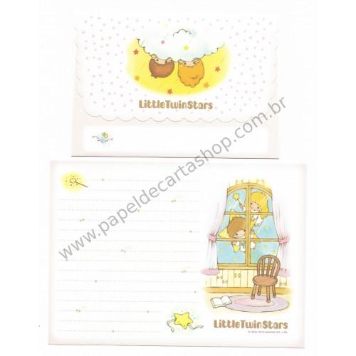 Ano 2013. Conjunto de Papel de Carta Little Twin Stars Hello Sanrio