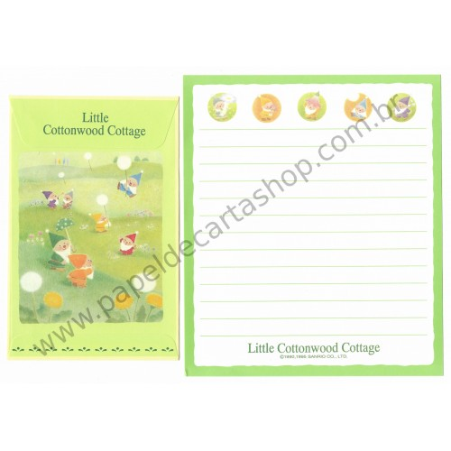 Ano 1995. Conjunto de Papel de Carta Little Cottonwood Cottage Antigo (Vintage) Sanrio
