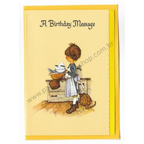 Notecard Antigo Grande AM Holly Hobbie A Birthday Message