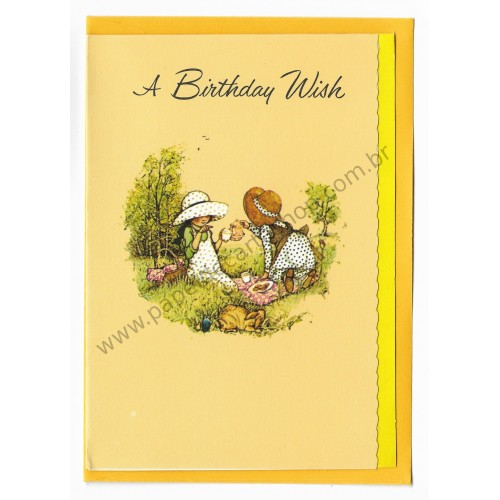Notecard Antigo Grande AM Holly Hobbie A Birthday Wish
