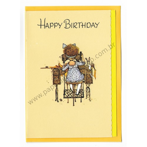 Notecard Antigo Grande AM Holly Hobbie Happy Birthday