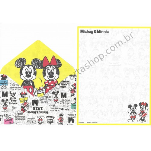 Conjunto de Papel de Carta Disney Mickey & Minnie (AM) - Kamio