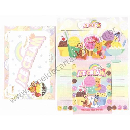 Kit 2 Conjuntos de Papel de Carta Disney Pooh Sweet Ice Cream
