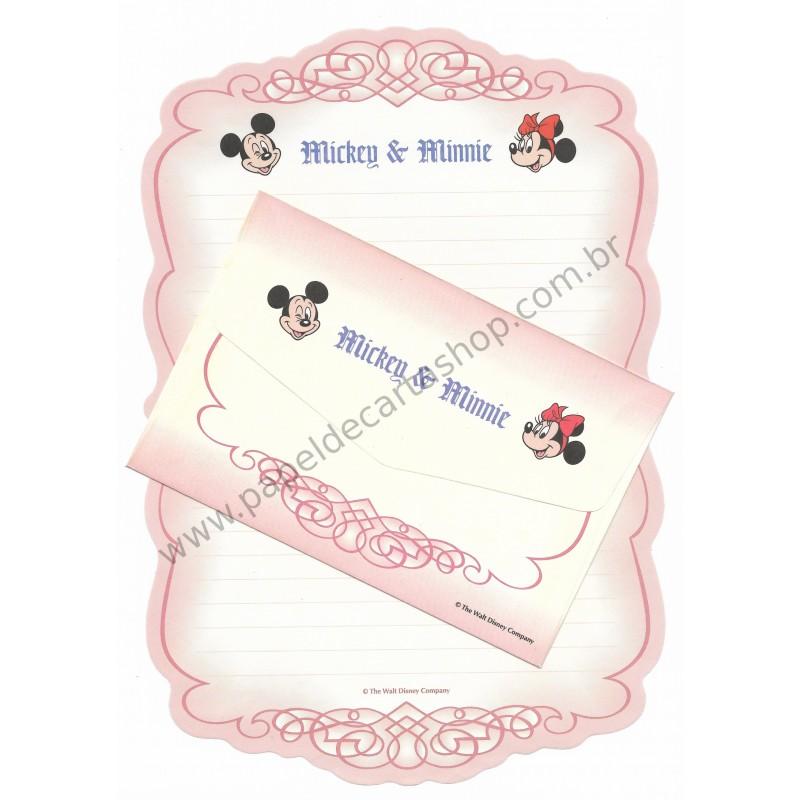 Conjunto de Papel de Carta Antigo Vintage Disney Mickey & Minnie