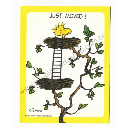 Notecard ANTIGO Importado Woodstock Just Moved! Hallmark