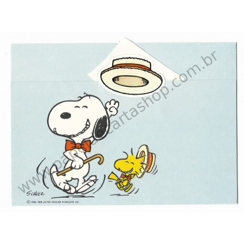 Postalete ANTIGO IMPORTADO COM SELINHO PARA COLAR Snoopy Dance Hmk