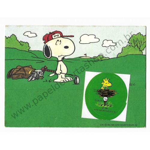 Postalete ANTIGO COM SELINHO PARA COLAR Snoopy Golf