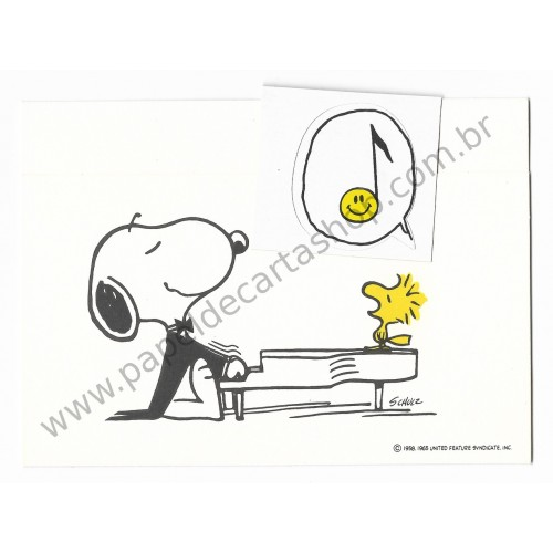 Postalete ANTIGO IMPORTADO COM SELINHO PARA COLAR Snoopy Playing the Piano Hmk
