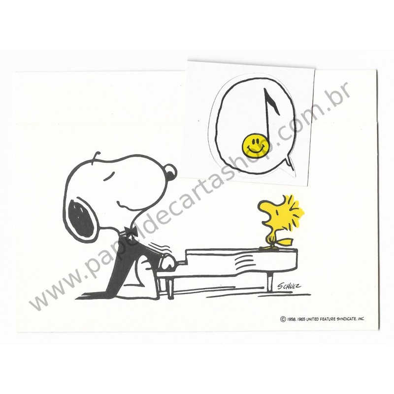 Postalete ANTIGO COM SELINHO PARA COLAR Snoopy Playing the Piano