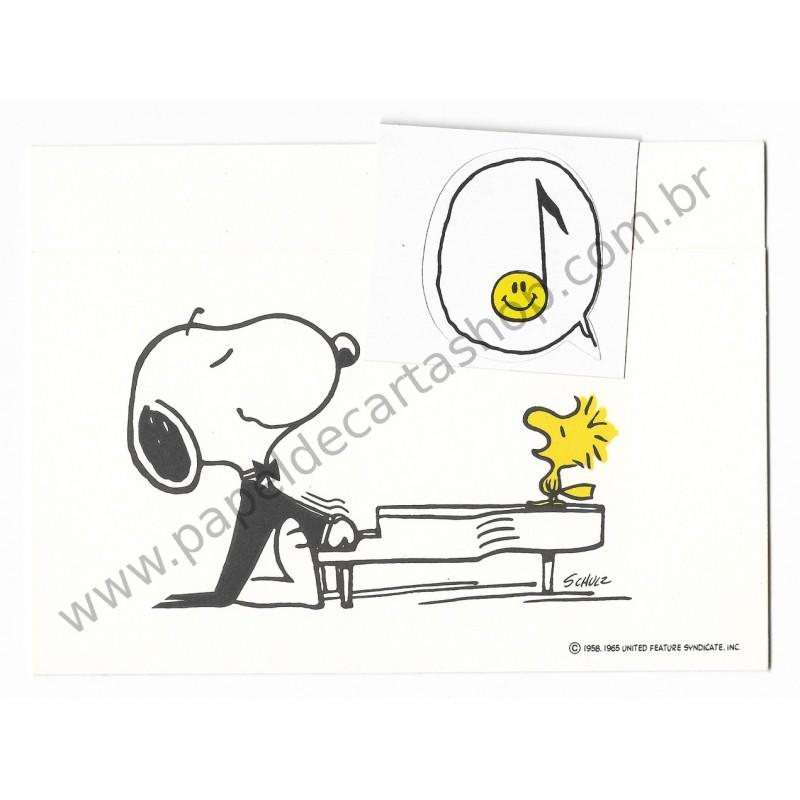 Postalete ANTIGO IMPORTADO COM SELINHO PARA COLAR Snoopy Playing the Piano Hmk