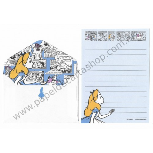 Kit 2 Conjuntos de Mini-Papéis de Carta Disney Alice