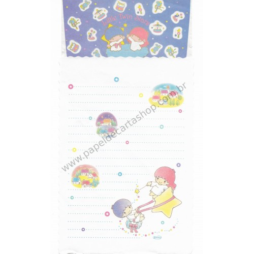 Conjunto de Papel de Carta Antigo Little Twin Stars (Branco)