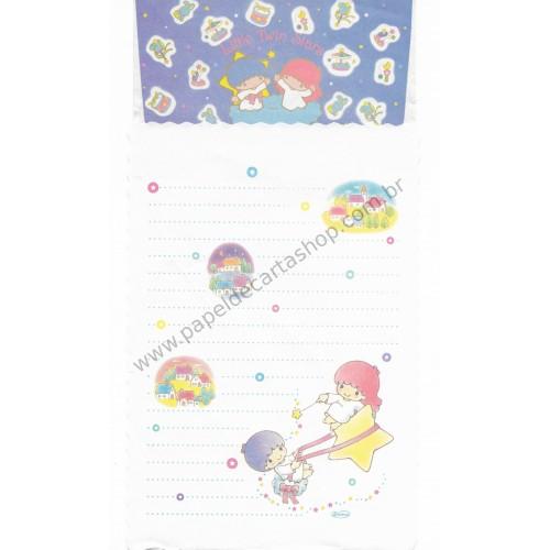 Conjunto de Papel de Carta Antigo Little Twin Stars (Branco)
