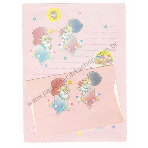 Conjunto de Papel de Carta Antigo Little Twin Stars (Rosa)