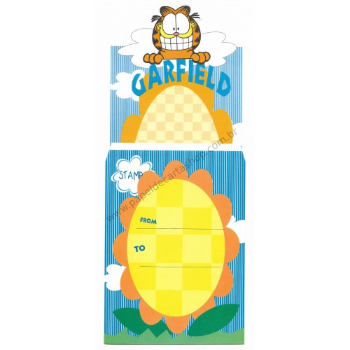 Ano 1978. Conjunto de Papel de Carta Antigo Importado Garfield Sunflower - Paws