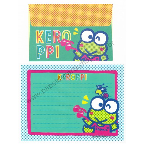 Ano 1996. Conjunto de Papel de Carta Keroppi Plástico Vintage Sanrio
