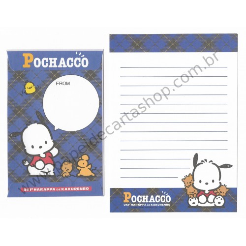 Ano 1996. Conjunto de Papel de Carta Pochacco PAZ Antigo (Vintage) Sanrio