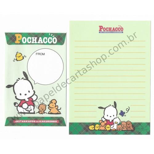 Ano 1996. Conjunto de Papel de Carta Pochacco PVD Antigo (Vintage) Sanrio