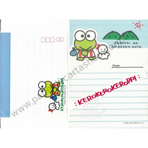 Ano 1989. Conjunto de Papel de Carta KeroKeroKeroppi Antigo (Vintage) Sanrio