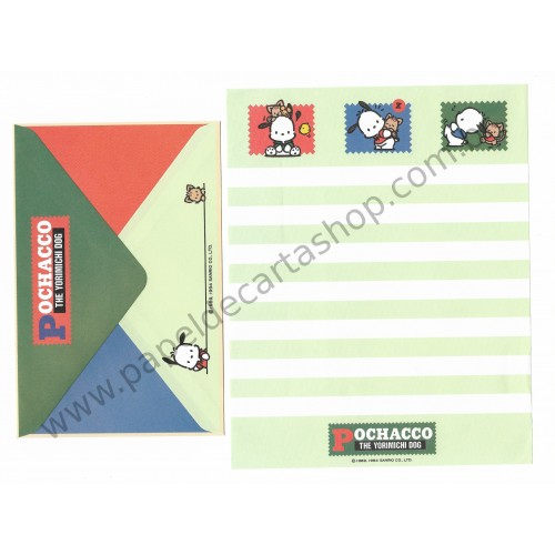Ano 1994. Conjunto de Papel de Carta Pochacco CVD Antigo (Vintage) Sanrio