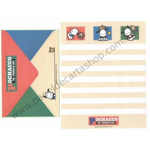 Ano 1994. Conjunto de Papel de Carta Pochacco CLA Antigo (Vintage) Sanrio