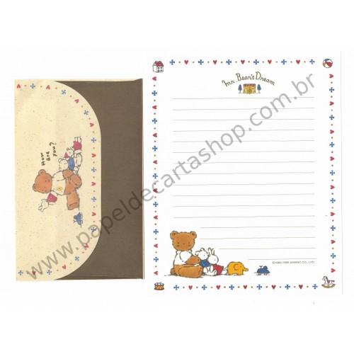 Ano 1995. Conjunto de Papel de Carta Mr Bear's Dream Antigo (Vintage) Sanrio