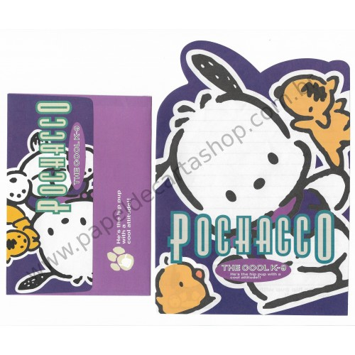 Ano 1996. Conjunto de Papel de Carta Pochacco The Cool K-9 Antigo (Vintage) Sanrio