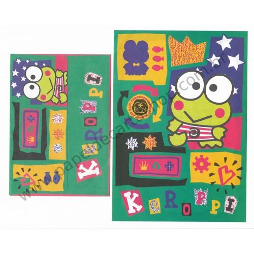 Ano 1996. Conjunto de Papel de Carta Keroppi Antigo (Vintage) Sanrio