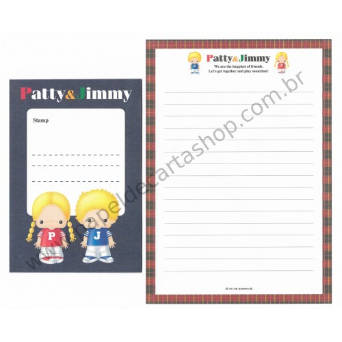 Ano 1998. Conjunto de Papel de Carta Patty & Jimmy The Happiest of Friends Antigo (Vintage) Sanrio