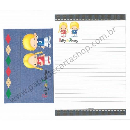 Ano 1998. Conjunto de Papel de Carta Patty & Jimmy Jeans Antigo (Vintage) Sanrio