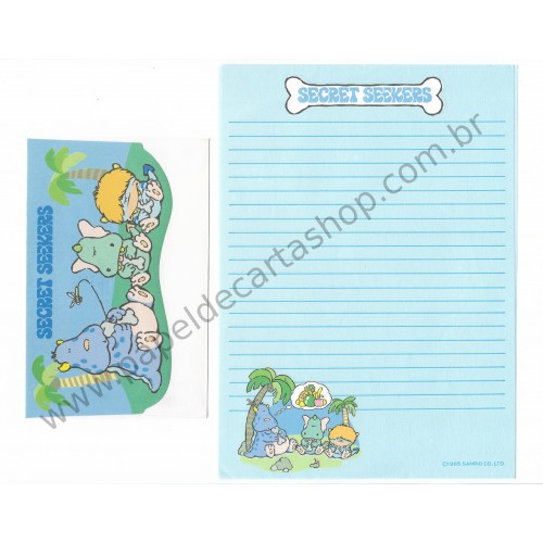 Ano 1985. Conjunto de Papel de Carta Secret Seekers Vintage Sanrio