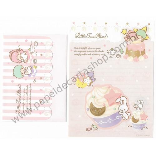 Ano 2008. Conjunto de Papel de Carta Little Twin Stars Cupcake Dupla Sanrio