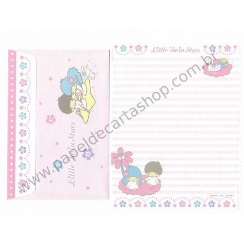 Ano 2004. Conjunto de Papel de Carta Little Twin Stars P Sanrio