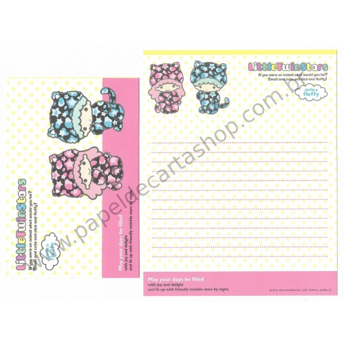 Ano 2012. Kit 4 Conjuntos de Papel de Carta Little Twin Stars Cute & Fluffy CAM Sanrio