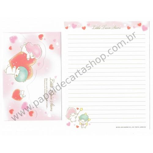 Ano 2015. Kit 4 Conjuntos de Papel de Carta Little Twin Stars Smile Shine Sanrio